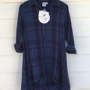 NEW Button Blue Plaid Tunic Top/Dress